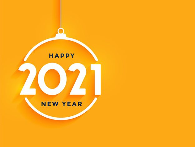 happy new year greeting card with with 2021 white numbers shape christmas ball orange 1017 28831 ۶ گام آسان برای آماده کردن گوگل برای سال 2021